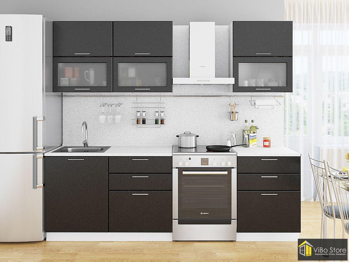 Современная модульная кухня черный и белый металлик