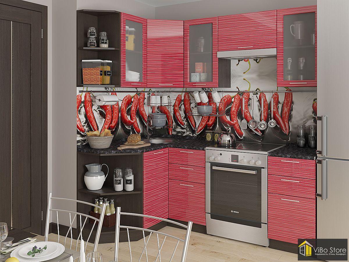 Компактная угловая кухня венге, красный глянец, лдсп