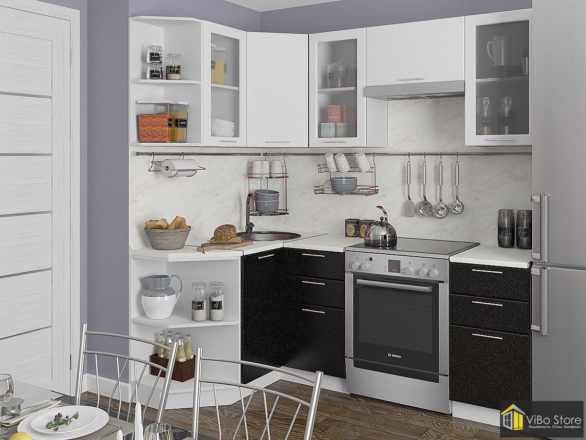 Современная угловая кухня белый и черный металлик