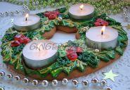 Венок Адвента Рождественские пряники на заказ Подсвечник