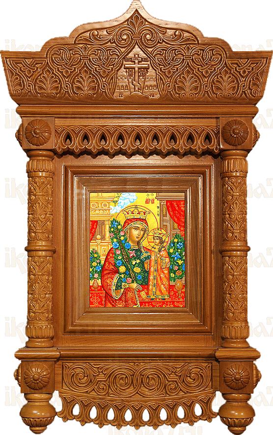 Киот для иконы сложный резной c короной