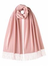 однотонный кашемировый шарф (100% драгоценный кашемир), цвет Розовый Light pink  cashmere, высокая плотность 7