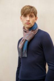 Роскошный двусторонний кашемировый шарф (100% драгоценный кашемир), ВИНДЗОРСКАЯ КЛЕТКА / Однотонный синий, GLENCHECK & PLAIN BLUE,  высокая плотность 7