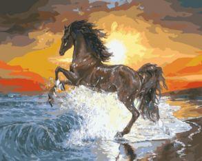 Картина по номерам «Конь на закате» 40x50 см