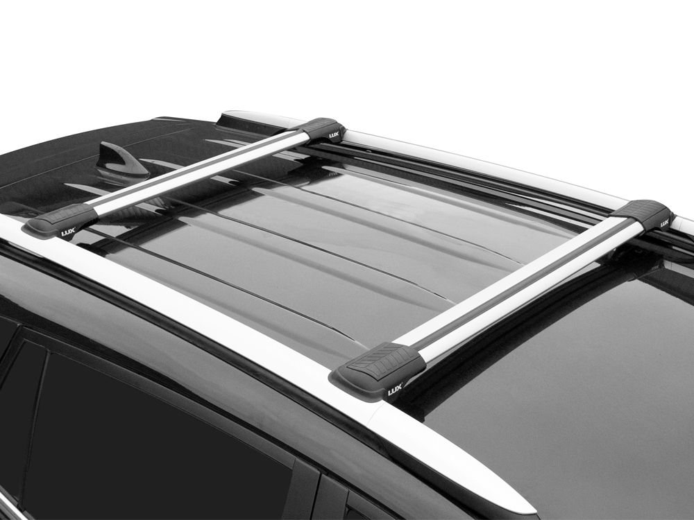 Багажник на рейлинги Kia Sportage 2004-10, Lux Hunter, серебристый, крыловидные аэродуги