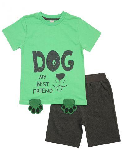 """Костюм для мальчика 1-4 лет Bonito OP498 """"Dog"""" зеленый"""