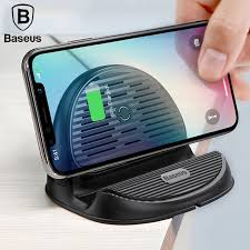 Беспроводная зарядка Baseus Silicone Horizontal Desktop Wireless Charger Черная (WXHSG-01)