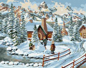 Картина по номерам «Зимний городок» 40x50 см