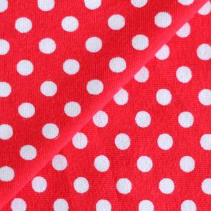 Лоскут трикотажной ткани Красный в белый горох