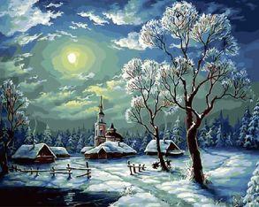 Картина по номерам «Зимний ночной пейзаж» 40x50 см