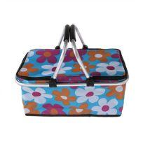 Двухцветная термокорзина для покупок и пикника с цветочным узором, 29 л., голубой