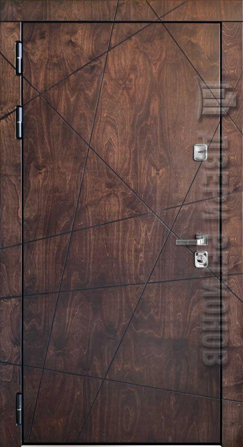 Дверь входная уличная Вегас, цвет лиственница мореная + черная патина, панель - стандарт возможно панель на выбор