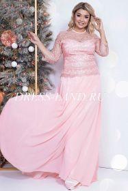 Розовый костюм с юбкой в пол