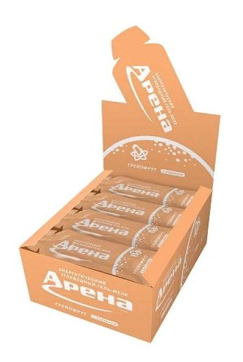 Энергетический гель Арена Первая с кофеином, со вкусом грейпфрута, бокс 24 шт.
