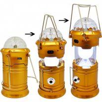 Складной кемпинговый фонарь с диско-шаром  4 в 1, 19 см., золотой