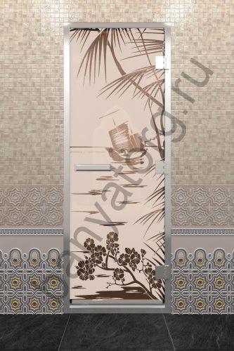 Дверь для хамама Голубая лагуна бронза матовая