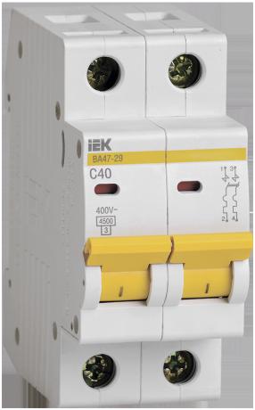 Выключатель автоматический ВА47-29 2Р 40А 4,5кА С IEK