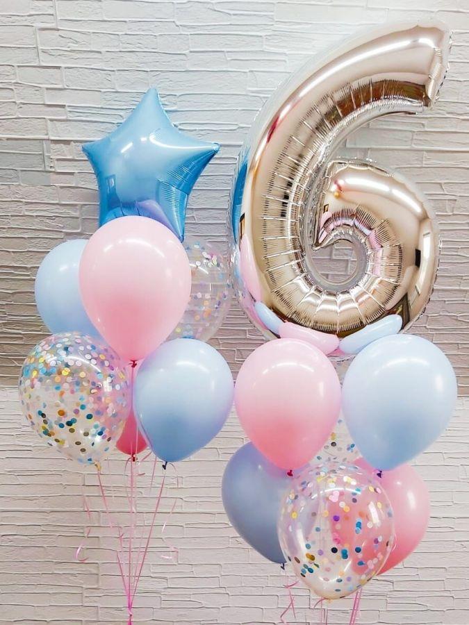 Гелиевые шары набор нежный с серебряной цифрой