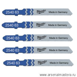 Набор полотен 5 шт стандартные прямой рез по металлу Milwaukee JigBl T118A 55 мм / шаг зуба 1.2 мм 4932254063