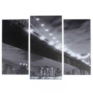 """Модульная картина """"Чёрно-белый мост""""  (2-25х52; 1-30х60) 60х80 см   3981615"""