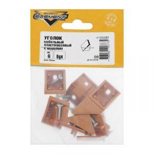 Уголки мебельные пластмассовый, с шурупом, цвет бук, 6 шт. 5133018