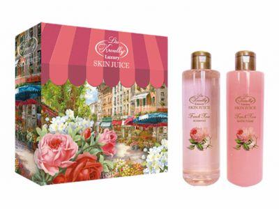Liss Kroully Skin juice Парфюмерно-косметический подарочный набор NP-1706 French Rose Шампунь 260 мл + Пена для ванн 260 мл