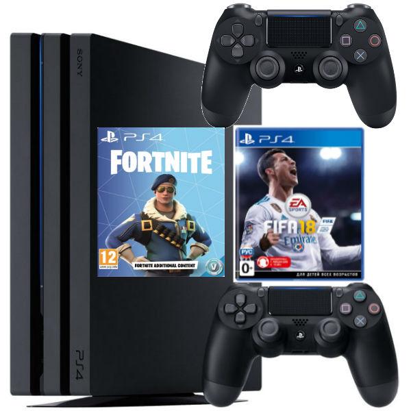 Игровая консоль  Sony Playstation 4 Pro 1TB (CUH-7108B) + Fifa 18 + Fortnite + Геймпад