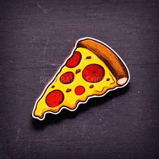 Деревянный значок Пицца
