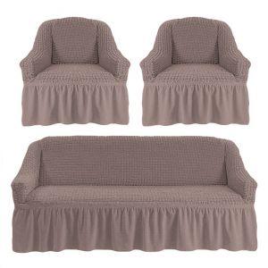 Чехол на диван и 2 кресла с оборкой ,Жемчужный