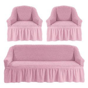 Чехол на диван и 2 кресла с оборкой,Светло-розовый