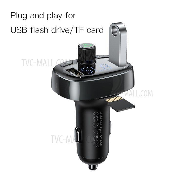 Автомобильное зарядное устройство Baseus T typed Bluetooth MP3 charger with car holder Серебристое