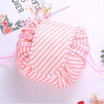 Ленивая нейлоновая косметичка-мешок с рисунком на липучке, полосатый бело-розовый