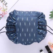 Ленивая нейлоновая косметичка-мешок с рисунком на липучке, синий с ёлочками