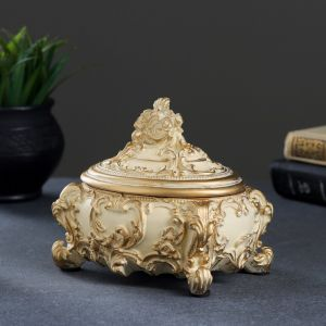 Шкатулка, слоновая кость/золото 15х12х14см   3928106