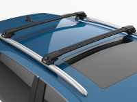 Багажник на крышу Turtle Air 1, аэродинамические дуги на рейлинги (черный цвет)