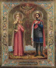 Икона Александра Римская и Александр Невский святые