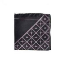 Английский нагрудный платок Диагональ Черный и серый  DIAGONAL SQUARE BLACK AND GREY POCKET SQUARE