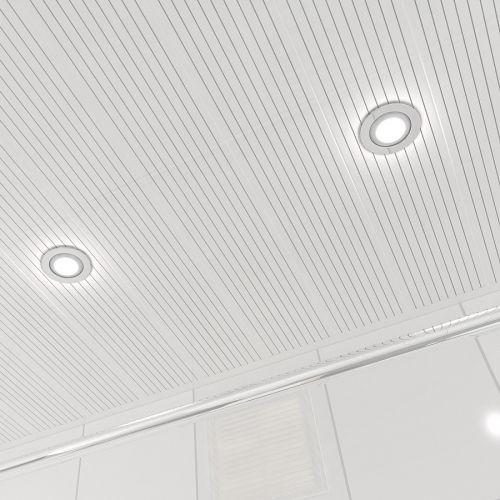Потолок реечный Cesal B19 Жемчужно-белый с металлической полосой