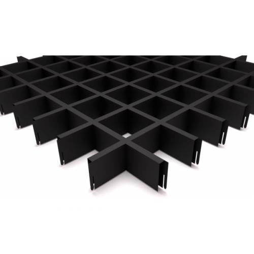 Потолок Грильято 75х75 черный матовый