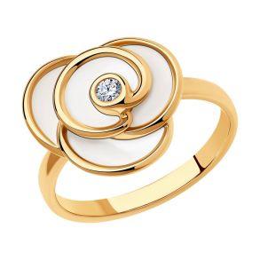 Кольцо из золочёного серебра с и эмалью и фианитом 93010844 SOKOLOV
