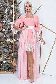 Персиковое платье-двойка с болеро