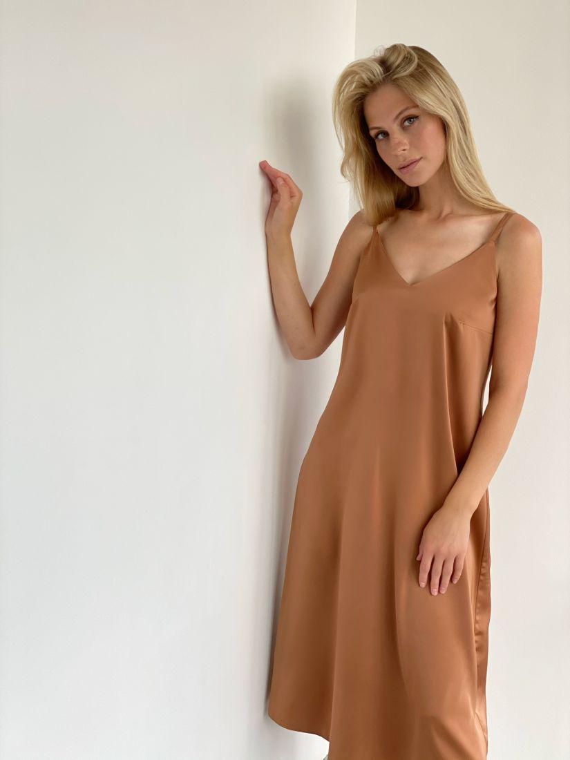 s2103 Платье шёлковое premium в песочном цвете