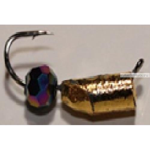 Столбик золото с граненым хамелеоном Mikado 2 мм / 0,4 гр