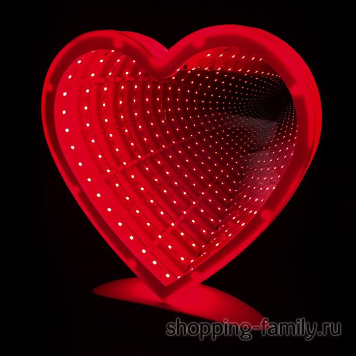 Зеркальный ночник Сердце с эффектом бесконечности