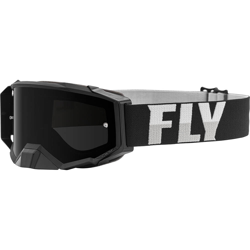 Fly Racing 2021 Zone Pro Black/White Dark Smoke Lens очки для мотокросса