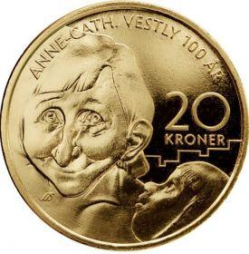 100 лет cо дня рождения  писателя Анне-Катарина Вестли 20 крон Норвегия 2020  на заказ