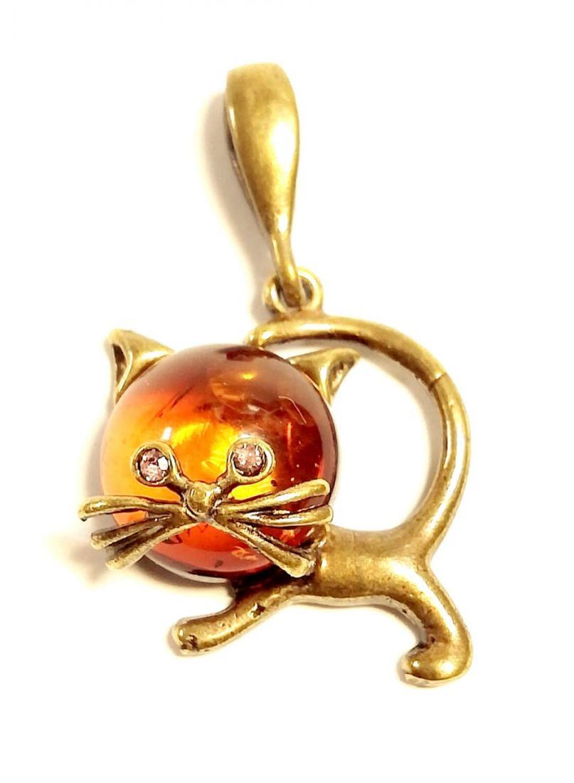 Подвеска котенок на янтаре