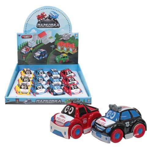 1toy Парковка Мультяшные автомобили, фрикционная машинка, 8 см, 4 в ассортименте