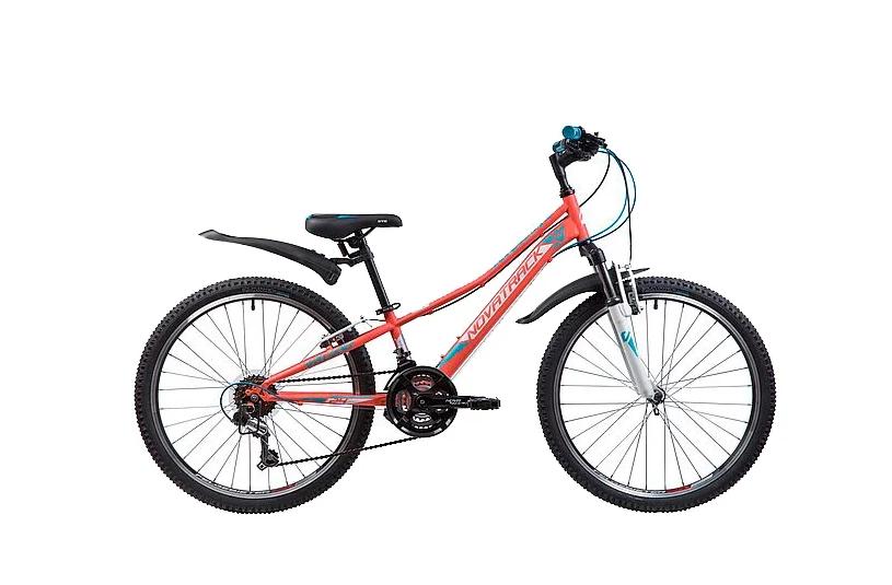 Подростковый горный (MTB) велосипед Novatrack Valiant 24 (2019) Коралловый (133986)