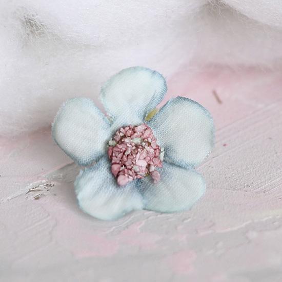 Цветок тканевый Ромашка голубая 2 см